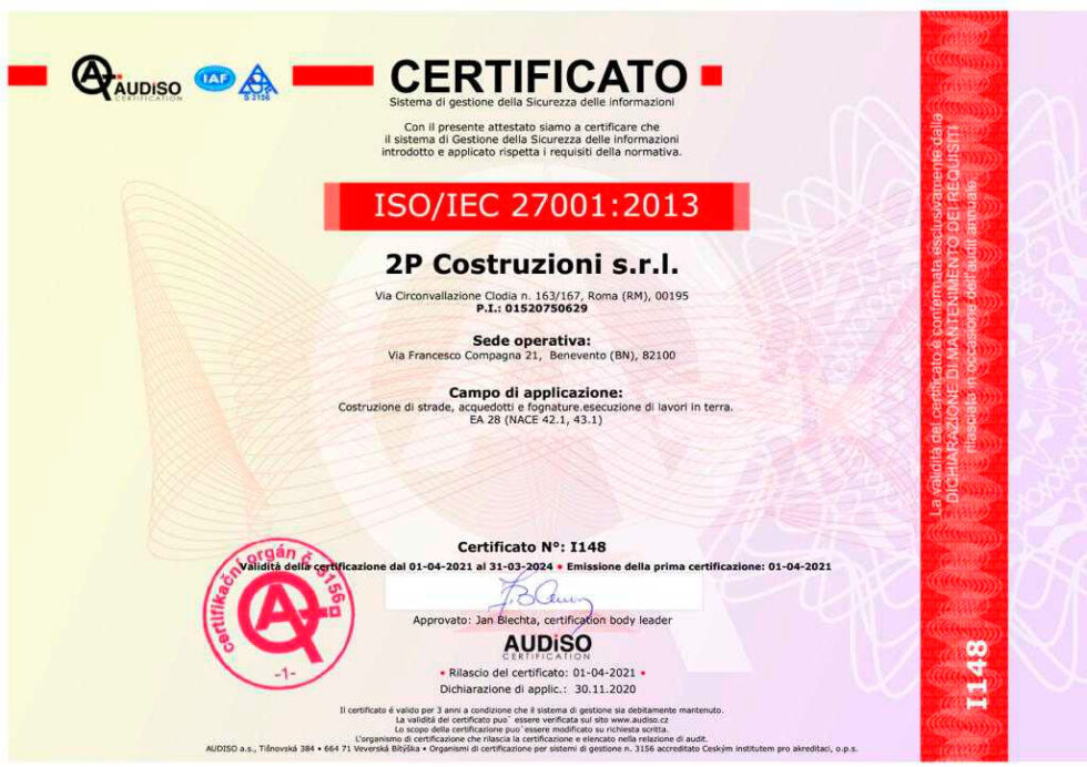 2P-certificato-27001-2013